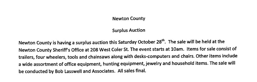 Surplus Auction - October 28 at 10 a.m. - Sheriff's Office - 208 W Coler St.